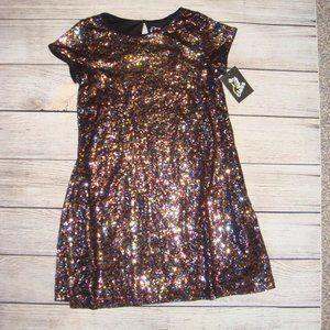 Art Class Multi Color Sequin Short Sleeve Dress M